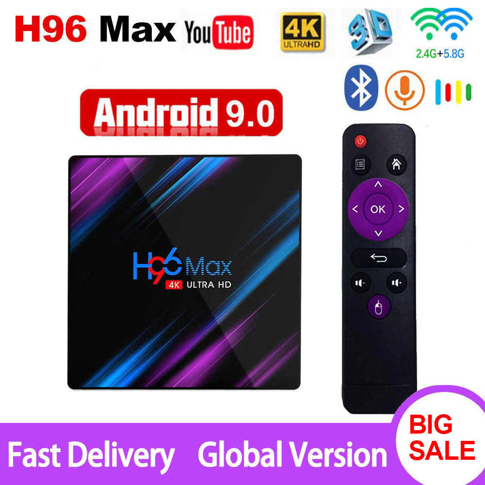 Android 9.0 TV Box H96 Max Rockchip RK3318 4K Smart TV Box 2.4G e 5G Wifi BT4.0 h96Max 4GB 64GB Media Player Android Set Top Box