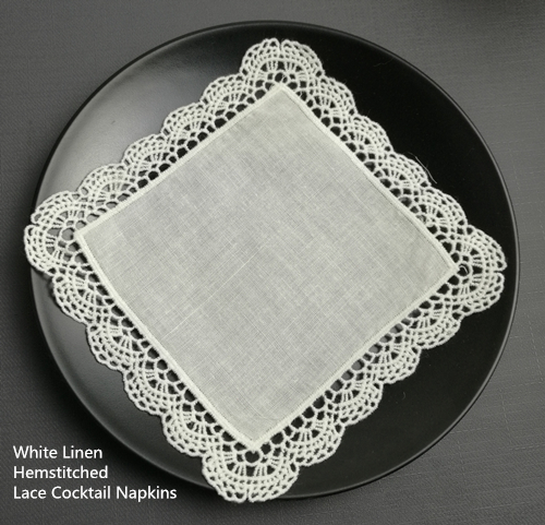 Set Of 120 Fashion Cocktail Napkins 6x6-inch White Linen Lace Cocktail Napkin Coasters Dress Up Any Cocktail Party