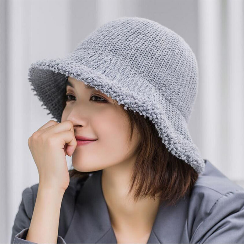 HANGYUNXUANHAO 2019 Autumn Winter Women 39 s Knitted Hats Bucket Fashion Warm Thick Folding Knitting Hats Casual Caps in Women 39 s Bucket Hats from Apparel Accessories