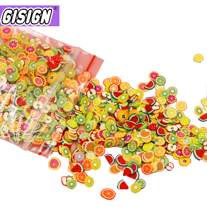 1000pcs Fimo Charms For Slime Fruit Slices Supplies Kit Polymer Slimes Accessories Slide Decora Putty Clay Kids Toys For Nails