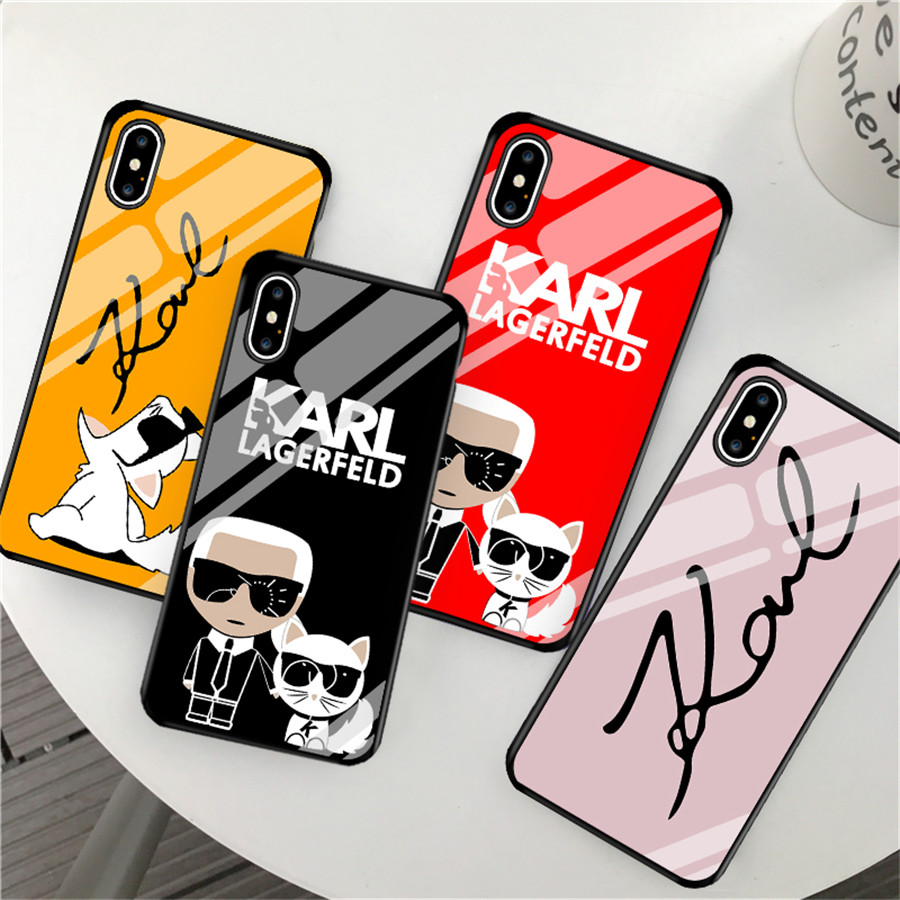 Luxury Karl Lagerfeld Glass Phone Case for iPhone X XR XS Max 8 7 6s Plus for Samsung s8 s10 plus Glossy Hard Back Cover Coque iphone xr case magnetic