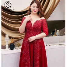 Skyyue O-neck Crystal Evening Dress Women Party Dresses 2019 Half-sleeve Plus Size Robe De Soiree Formal Gowns T103