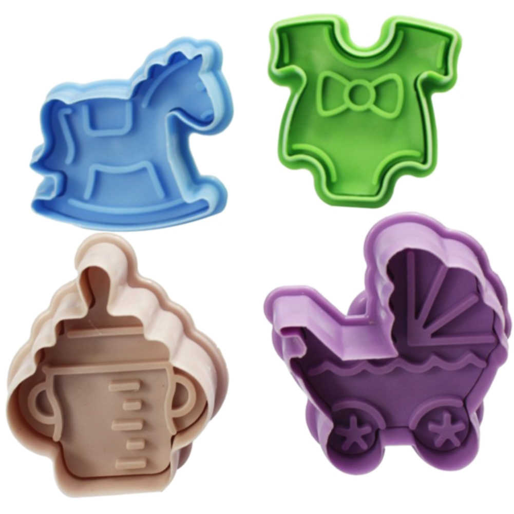 4PCS/Set Plunger Cookie Mold Kitchen Biscuits Baby Clothes Shower Cutter Chocolate Handmade Hand Press Non-stick DIY 3D Cute