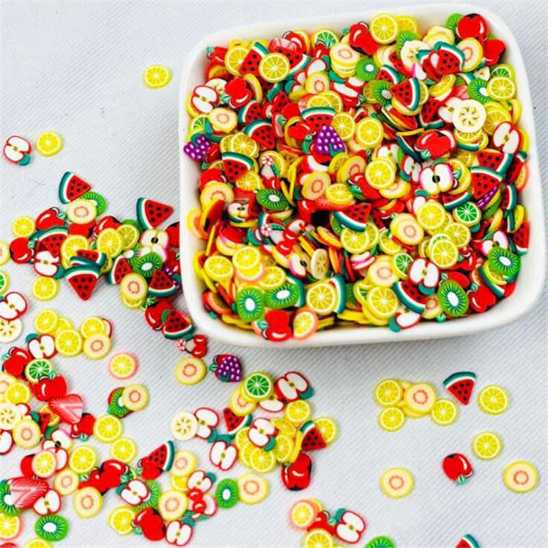 1000PCS/Bag 5mm Resin Artificial Fruit Slice Charms Slime Fimo Clay Banana Grapes Orange Jewelry Making Accessory Table Props