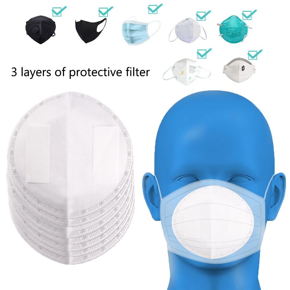 50pcs Disposable Mask Filter Pad Melt Blown Cloth Mask Inner Gasket Adult Children Universal Breathable Three-layer Protective