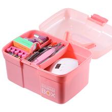 1pc różowy o dużej pojemności pudełka z tworzywa sztucznego na paznokcie sztuka 2021 przenośna biżuteria do paznokci akcesoria dwuwarstwowe przechowywanie narzędzi Box tanie tanio CN (pochodzenie) 30cm*20cm*20cm C0429-4 Nail Art Storage Box Multi-function Storage Box Pink Jewelry Makeup Organizer High capacity box