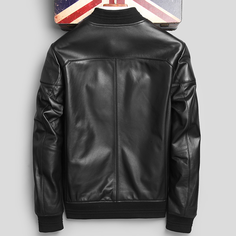 Leather Jacket Autumn Winter Jacket Men Genuine Sheepskin Coat Streetwear Baseball Jacket Chaqueta Hombre P-1-F13 MY1307