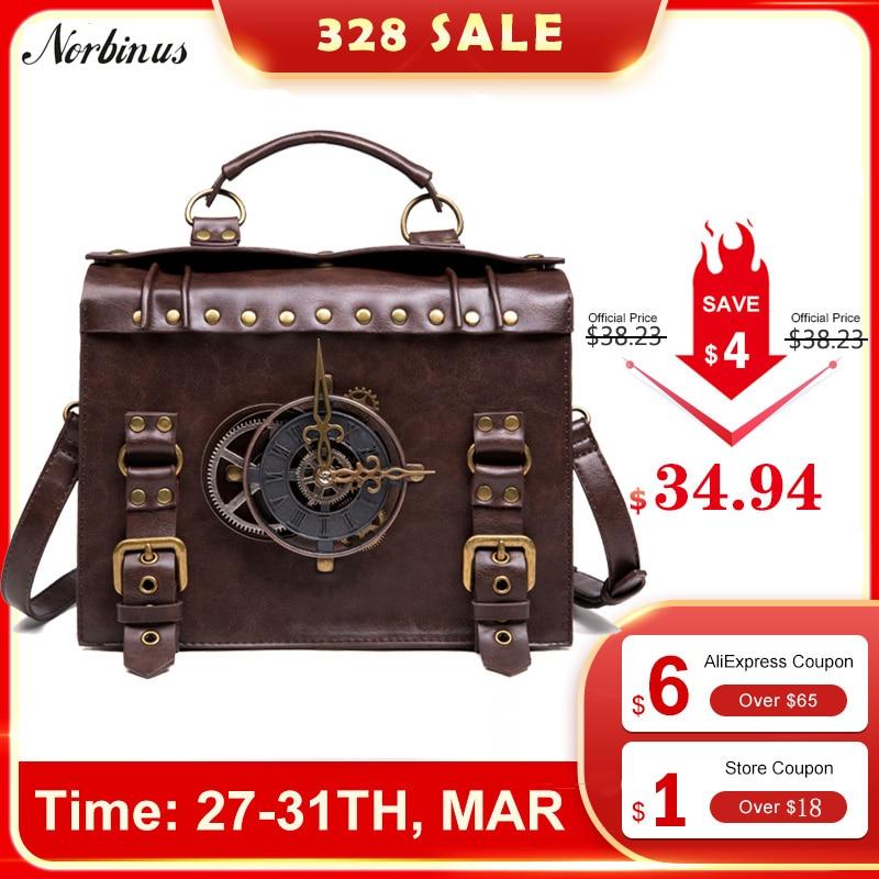 Norbinus Steampunk Single Shoulder Bags Vintage Women Handbags Gothic Messenger Crossbody Bag Ladies Rivet Top-Handle Bags Pack