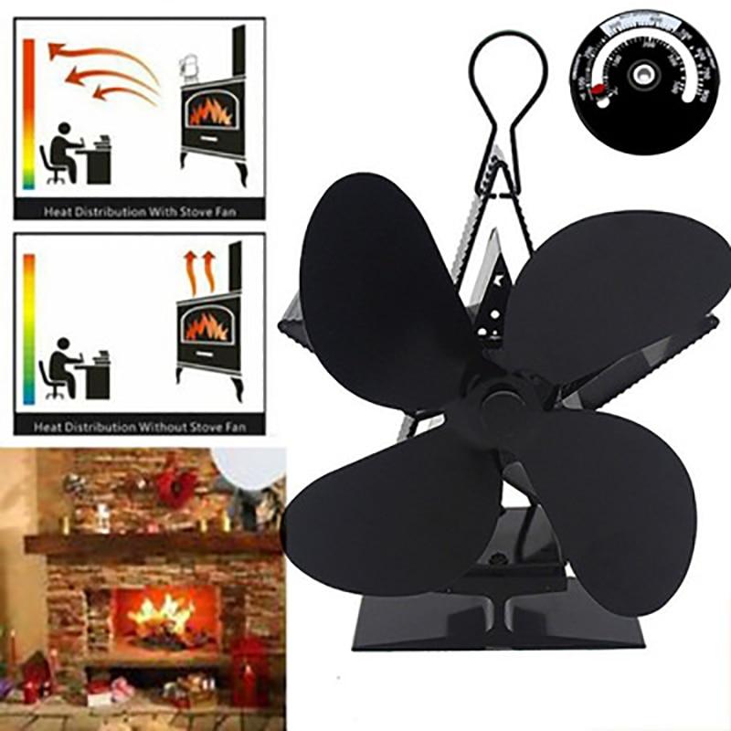 Black Stove Fan 4 Blade Fireplace Fan Heat Powered Wood Burner Eco Energy Saving Fan Quiet Home Powered Fan
