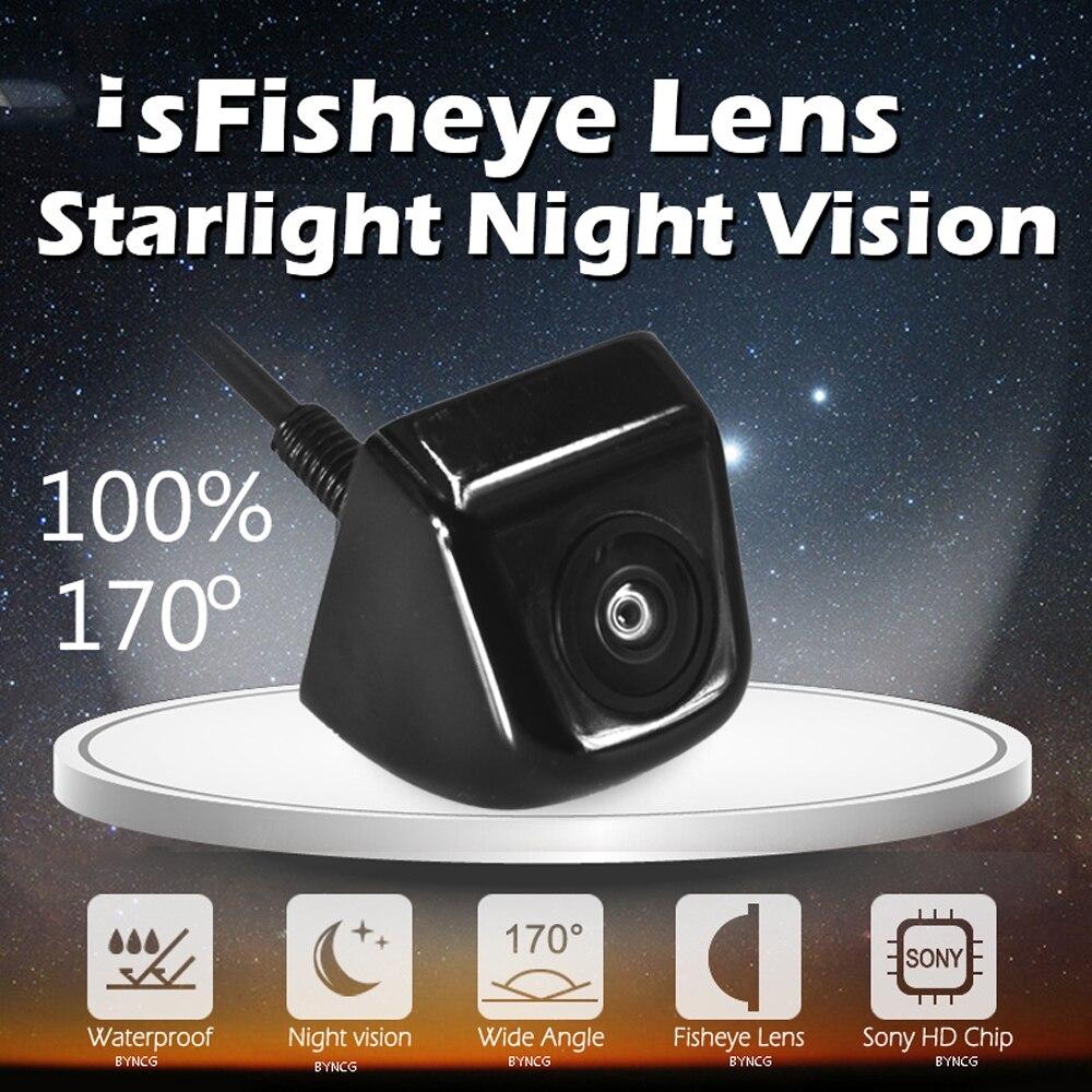 Real 170 Degree Fish Eye Lens Starlight Night Vision Vehicle Rear / Front View Camera Low-light Level 15m Visible Car Camera