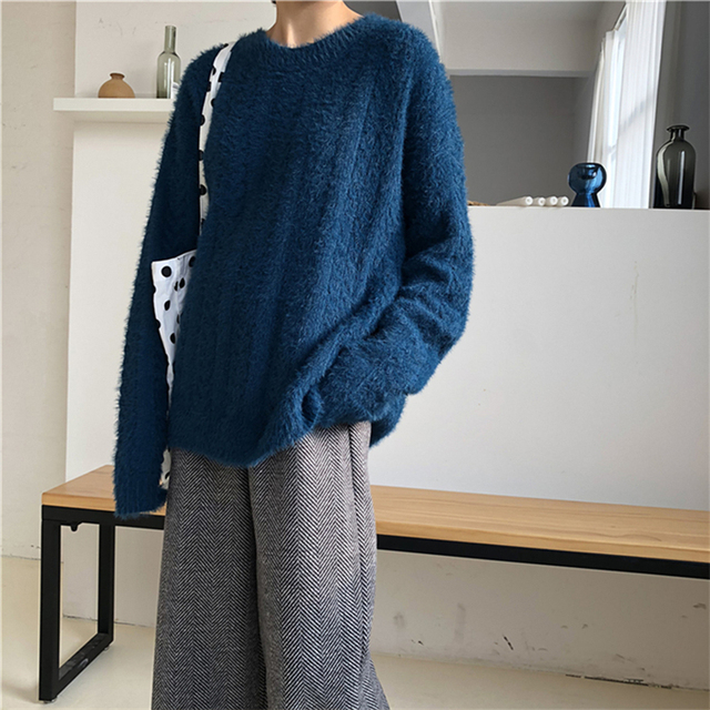 Ailegogo Winter Women Sweater Casual Thickness Warm Female Long Sleeve Loose Fit Pullovers Ladies Knitwear Tops 2