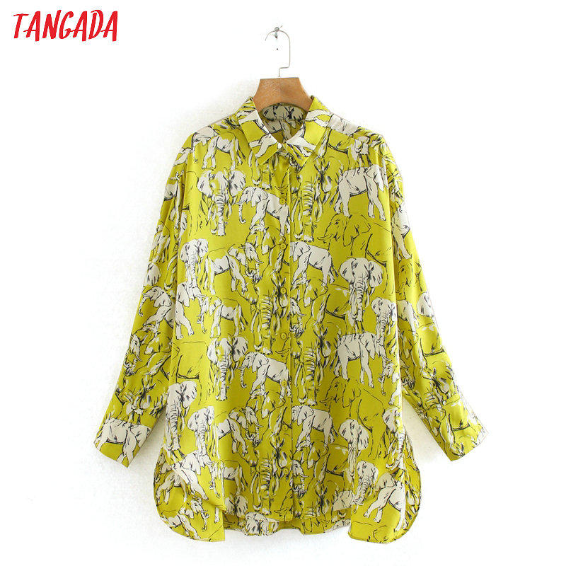Tangada Women Retro Animal Print Green Blouse Long Sleeve Chic Female Casual Loose Shirt Tops Blusas 2XN24