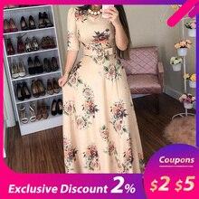 Женское летнее платье, повседневное длинное платье с коротким рукавом, богемное Платье макси с цветочным принтом, элегантные платья