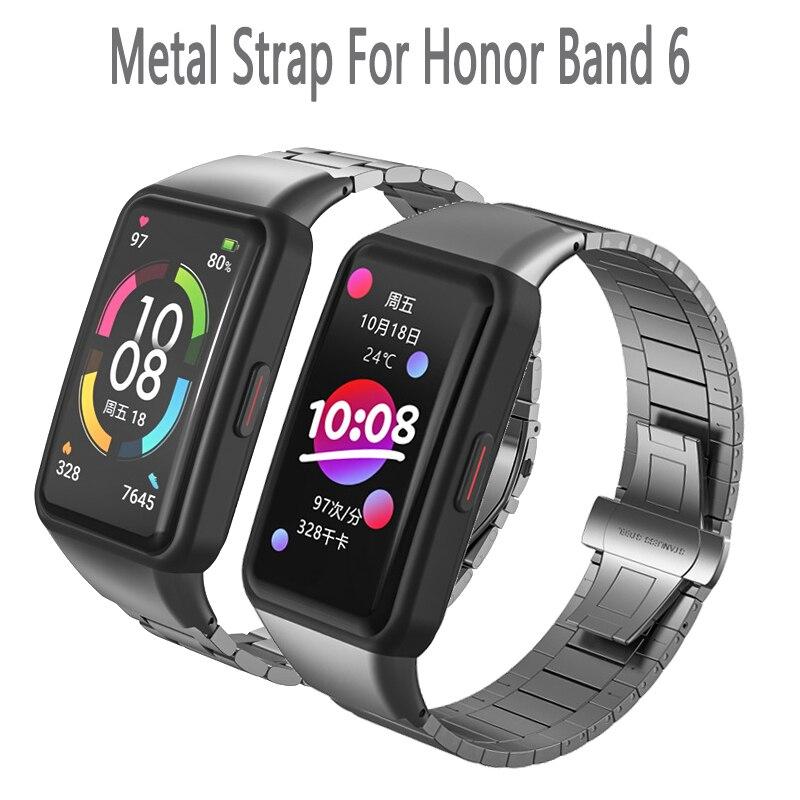 Pulseira de metal para honor band 6 relógio inteligente substituição pulseira cinto para h honra 6 pulseira de corrente relógio inteligente