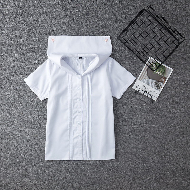 White Cotton Japanese Middle High Student School Dress For Girls JK Uniforms Sailors Suit Short Sleeve White Shirt Women Tops