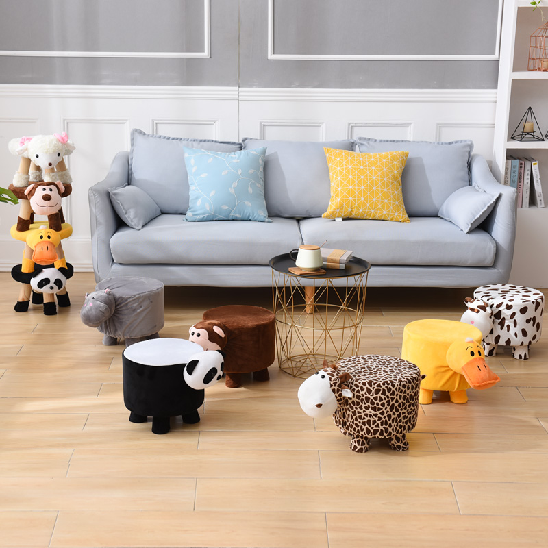 Cartoon Solid Wood Children's Toy Stools A Variety Of Animal Shapes Home Cute Plush Shoe Change Stool Can Be Stacked Durable