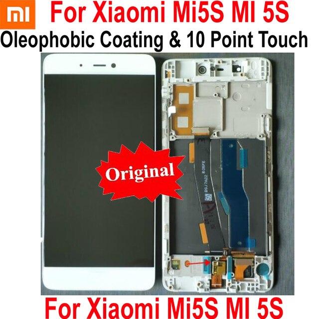 100% מקורי IPS הטוב LCD תצוגת 10 מגע מסך Digitizer עצרת חיישן עם מסגרת עבור שיאו mi mi 5S M5S mi 5S זכוכית פנל