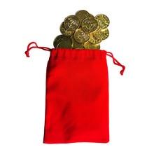 100pcs 25*1.85mm Brass Token Coin Arcade Game Machine Coin Pentagram Crown Token Coins With High-Quality Cloth Bag