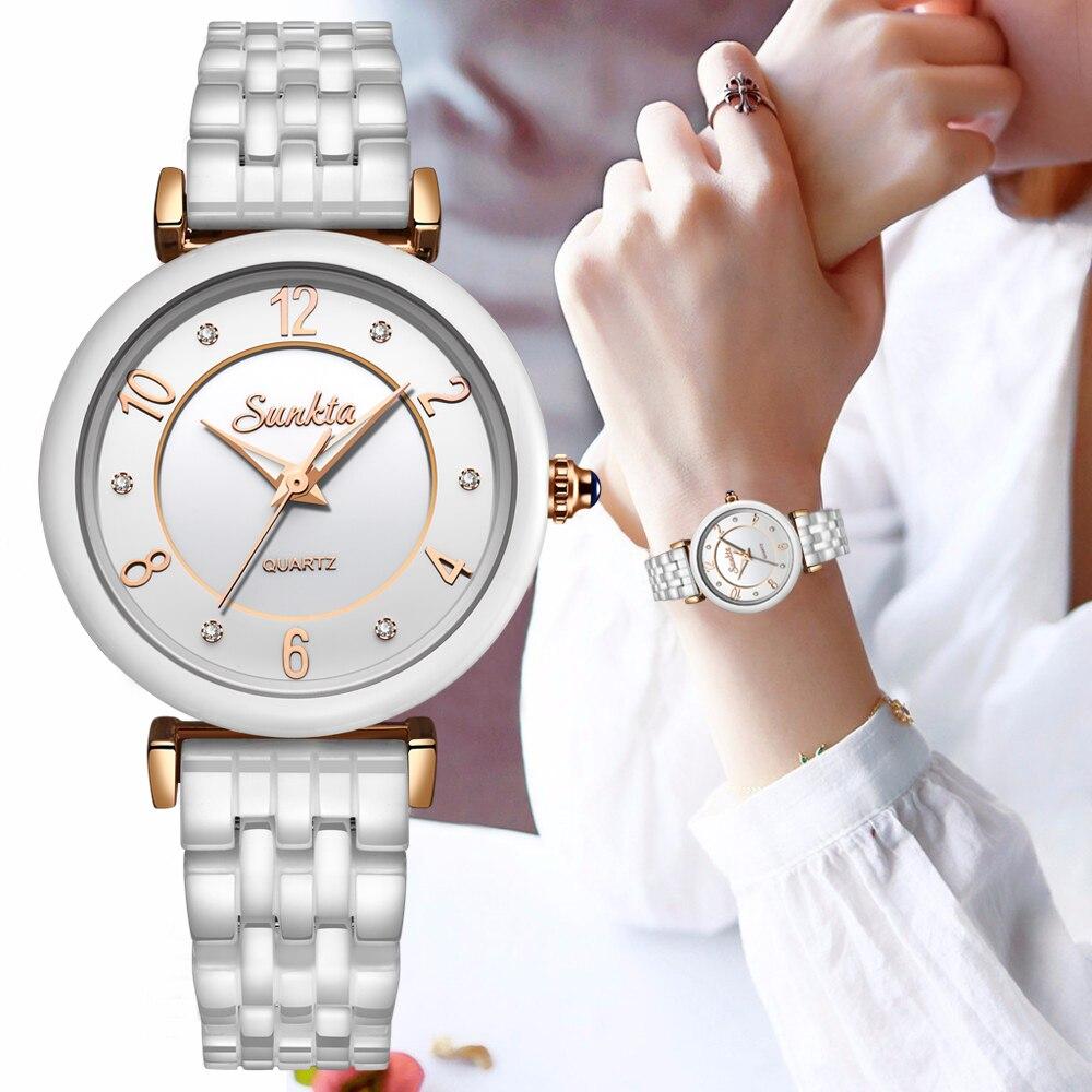 Reloj Mujer SUNKTA Women Watch Top Brand Luxury Ceramic Waterproof Watch Ladies Fashion Sport Watch Quartz WristWatch+ Bracelet