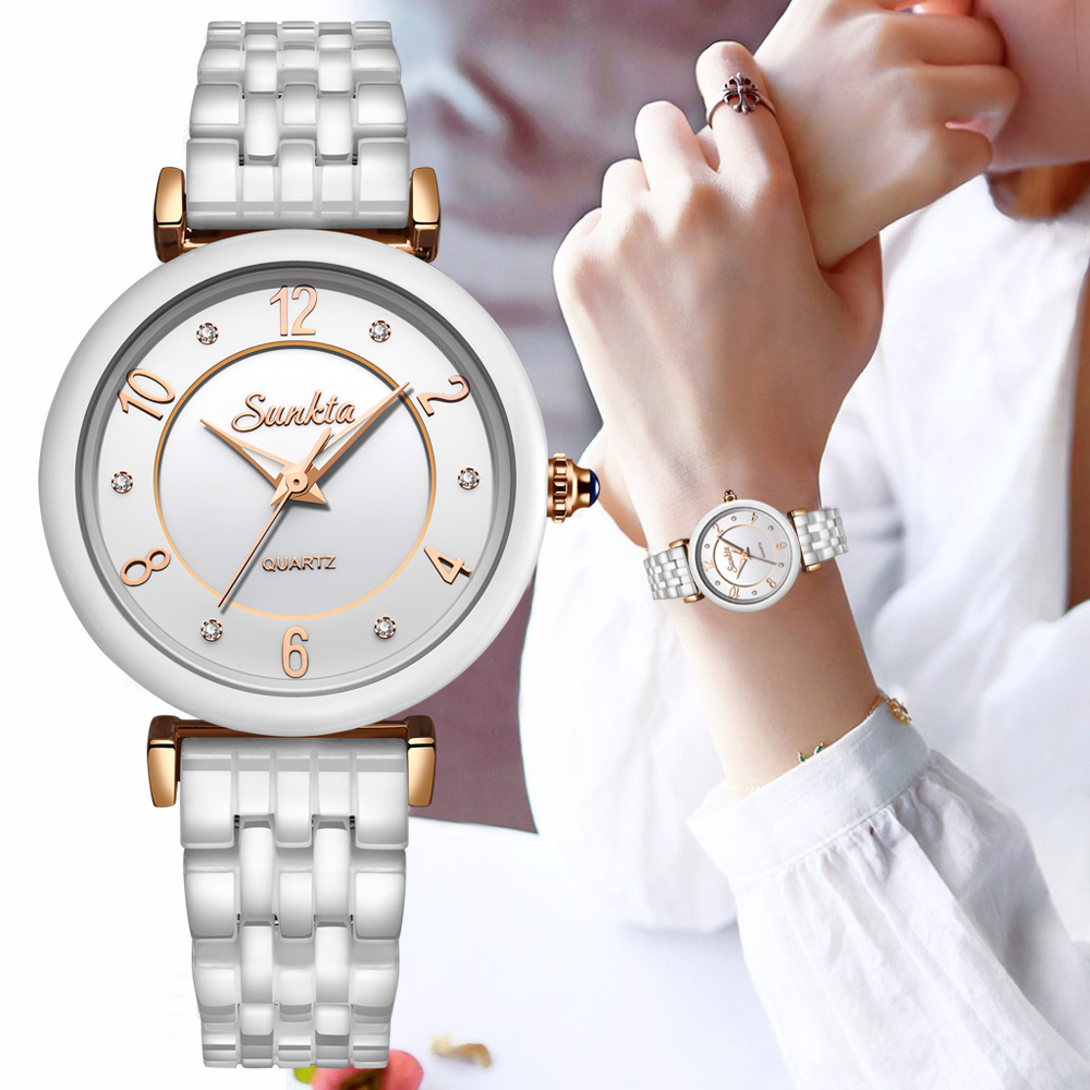 SUNKTA New All White Ceramic Quartz Women Watches Waterproof Fashion Simple Style Top Brand Luxury Watches Women Zegarek Damski