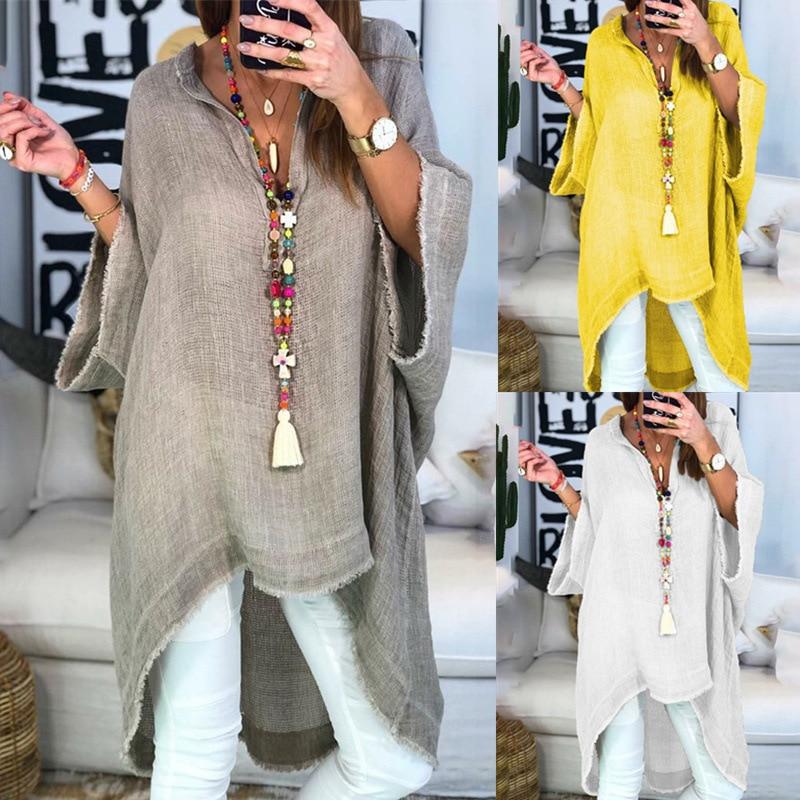 Women's Loose Casual Plain Cotton Linen Half Sleeve Boho Shirt Long Women Blouses and Tops Blusas Mujer De Moda 2020 Plus Size(China)