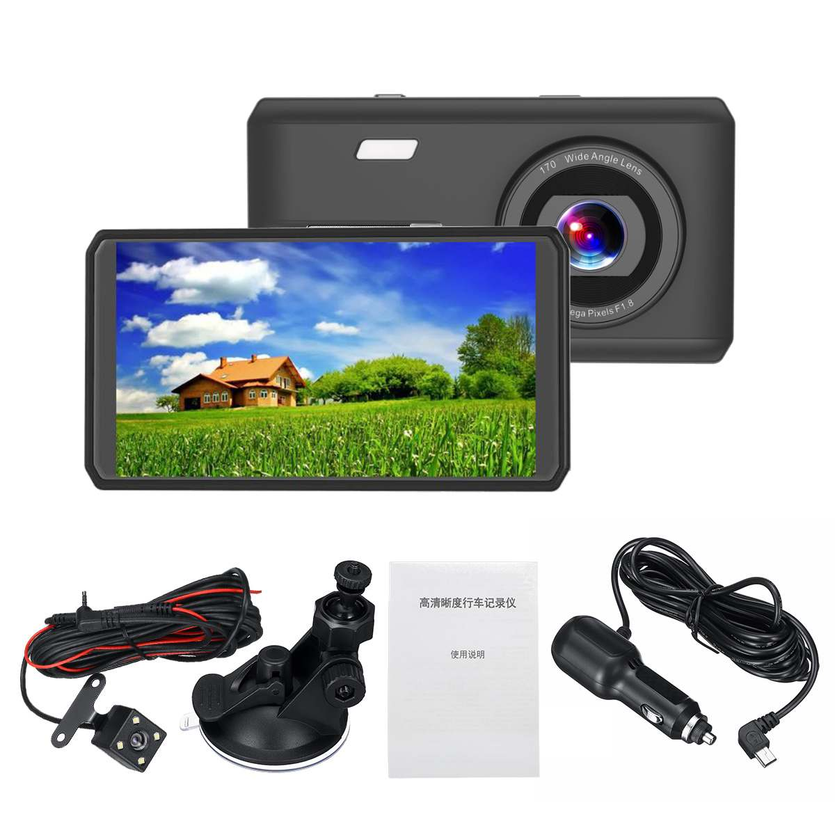 KROAK 1080P 4,5 zoll FHD Auto DVR Schwarz Dashboard Nachtsicht Kamera Video berühren screen Recorder Loop Recording Mini dash