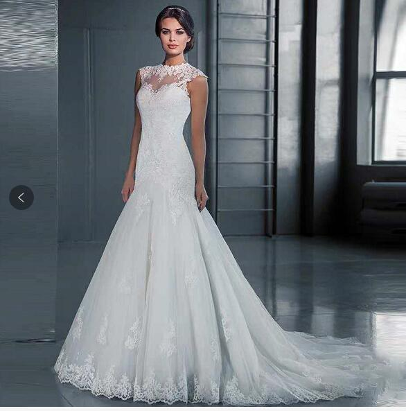 2019 New African Open Back Mermaid Lace Wedding Dresses Customized Plus Size High Neck Wedding Gown Vestido De Noiva AliExpress