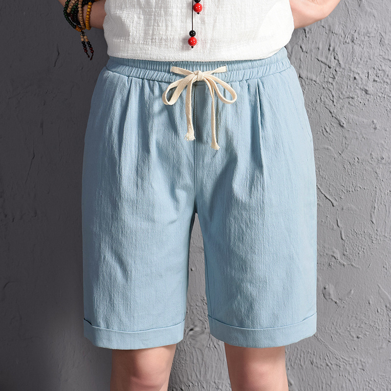 Summer Women Cotton Linen Bermuda Feminina Elastic Waist Casual Sweatpants Knee Length Beach Trousers Female Shorts Plus Size