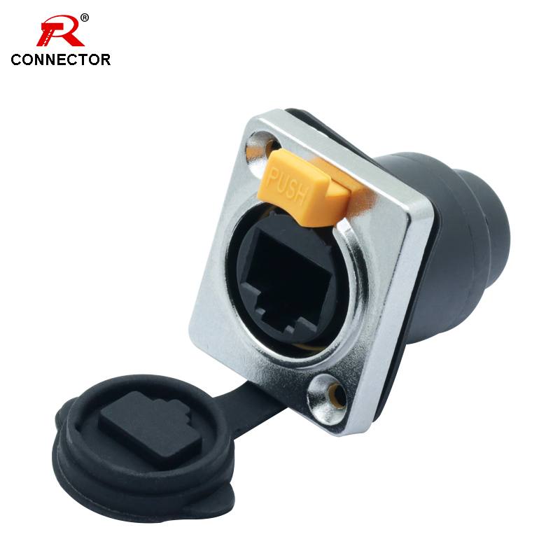 RJ45 Waterproof Connector 8p8c Female Panel Mount Sockets RJ45 Ethernet Connector IP65 Straight RJ45 Type