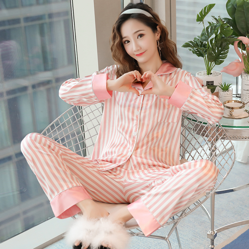 Fashion Women Wear Clothes Sping Autumn Winter Long Sleeved Silk Women Pajamas Set Loose Women Long Pant Sleepwear Sets Satin