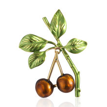 2019 New Japan Korea Style Enamel Alloy Cherry Cute Brooch Pin for Girl Women Fashion Jewelry Corsage Accessories(China)