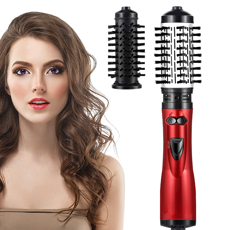 2 Detachable Auto-Rotating Curling Brush Detachable Brush Hot Air Spin Brush Kit Electric Hair Dryer & Curler Straightener Brush