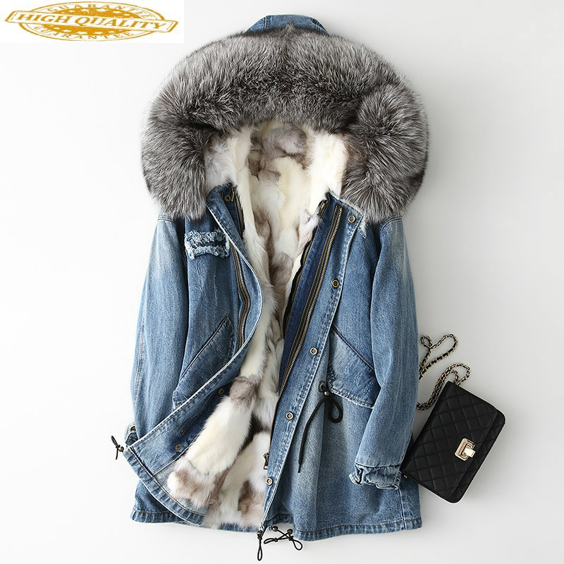 2020 Real Fox Fur Coat Women Parkas Mujer Fall Winter Denim Fur Jackets Streetwear Long Parka Manteau Femme Hiver KJ1007