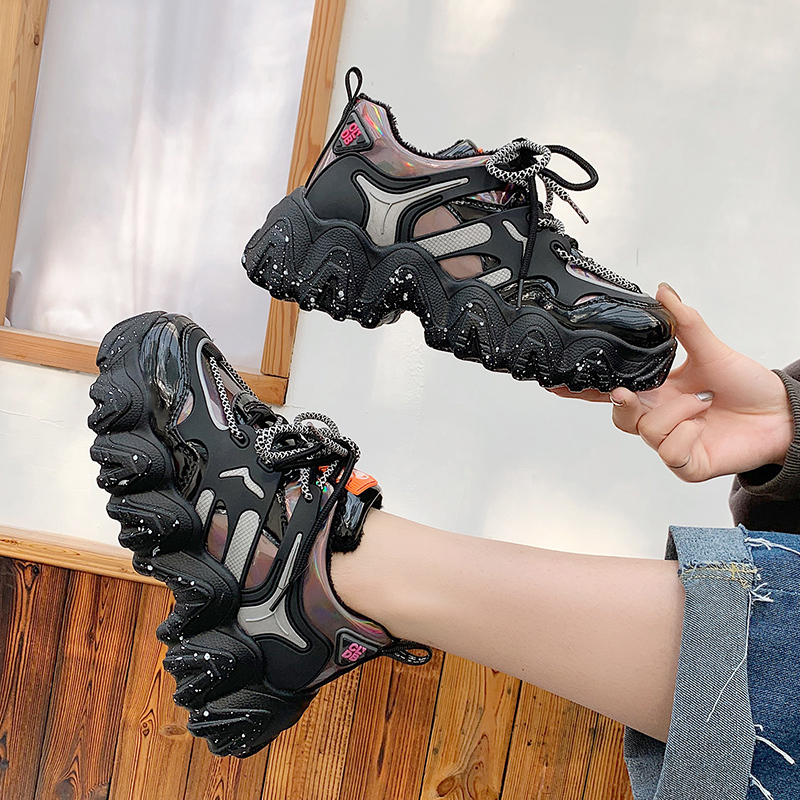 Spring Woman Chunky Platform Sneakers 2020 New Ulzzang Fashion Lace Up Trainers High Quality Tenis Female Old Dad Casual Shoes 3