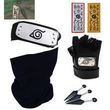 Naruto cosplay hatake kakashi luvas máscara talismã bandana anime acessórios arma kunai notebook adereços brinquedo máscaras azuis presente