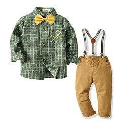 Весенне-осенний костюм 2020 года детская рубашка в клетку Комбинезон Костюм Джентльмена для мальчиков праздничная одежда для дня рождения ве...