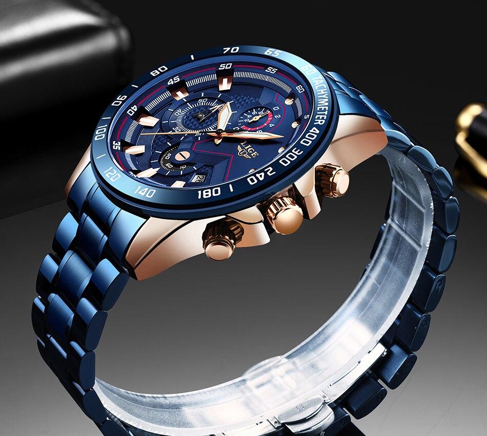 H80de6c69320b48cc9fc095b4441d223fu Relogio Masculino LIGE Chronograph Mens Watches Stainless Steel Waterproof Date Quartz Watch Men Business Classic Male Clock+box