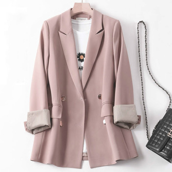 New 2021 Autumn Winter Women's Blazers Pockets Formal Jackets Vintage Fashionable Office Lady Elegant Outerwear Wild Tops 1
