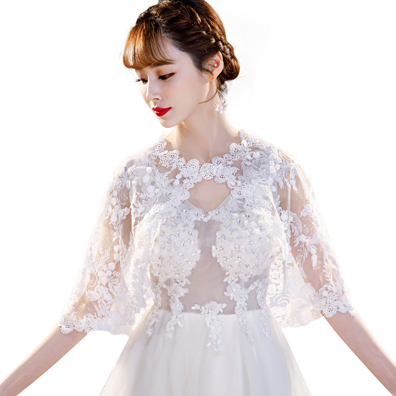2020 White New Arrival Summer Lace Shawl Women Wedding Cape Wedding Accessories Wedding Lace Jackets Bridal Wraps Any Size