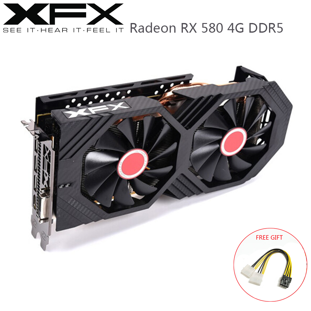 XFX AMD Radeon RX580 4 Гб DDR5 Графика карты AMD GPU RX 580 4GB компьютерных игр видеокарта настольный Gamer видеоигры карты б/у карт Radeon