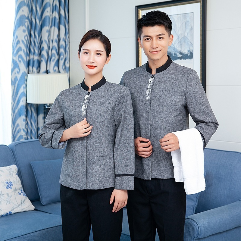 Autumn Winter Catering Restaurant Waiter Waitress Workwear Work Clothes Long Sleeve Hotel Staff Uniform Overalls