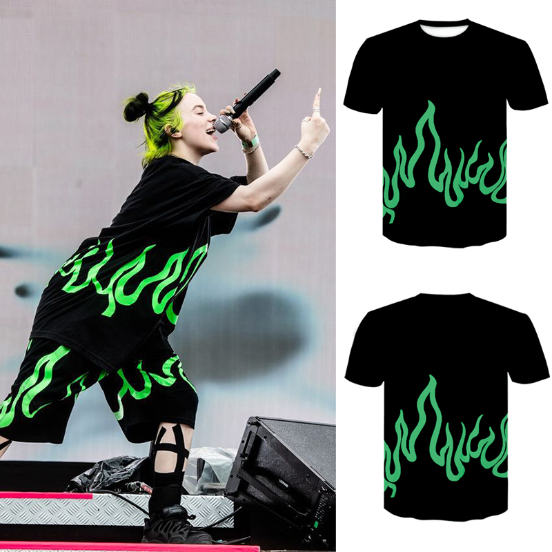 2020 Billie Eilish T-shirt Couple T-shirts Fluorescent Green Flame Print Short Sleeve T-shirt Men/Women 3D Printed Short Sleeve