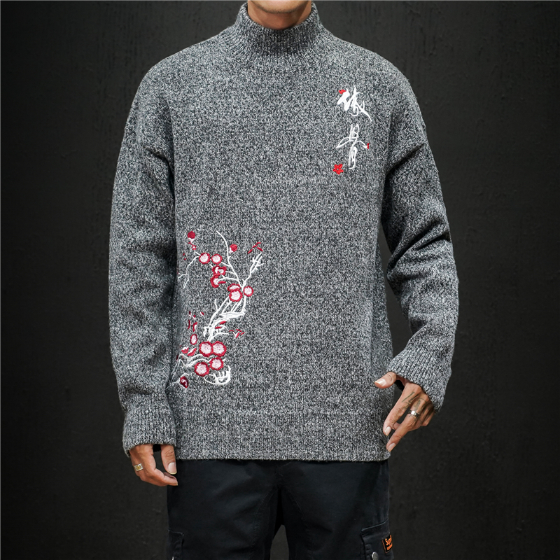 Winter Thick Sweater Men's Warm Fashion Flower Embroidery Casual Knit Pullover Man Wild Loose Sweater Male Clothes M-5XL