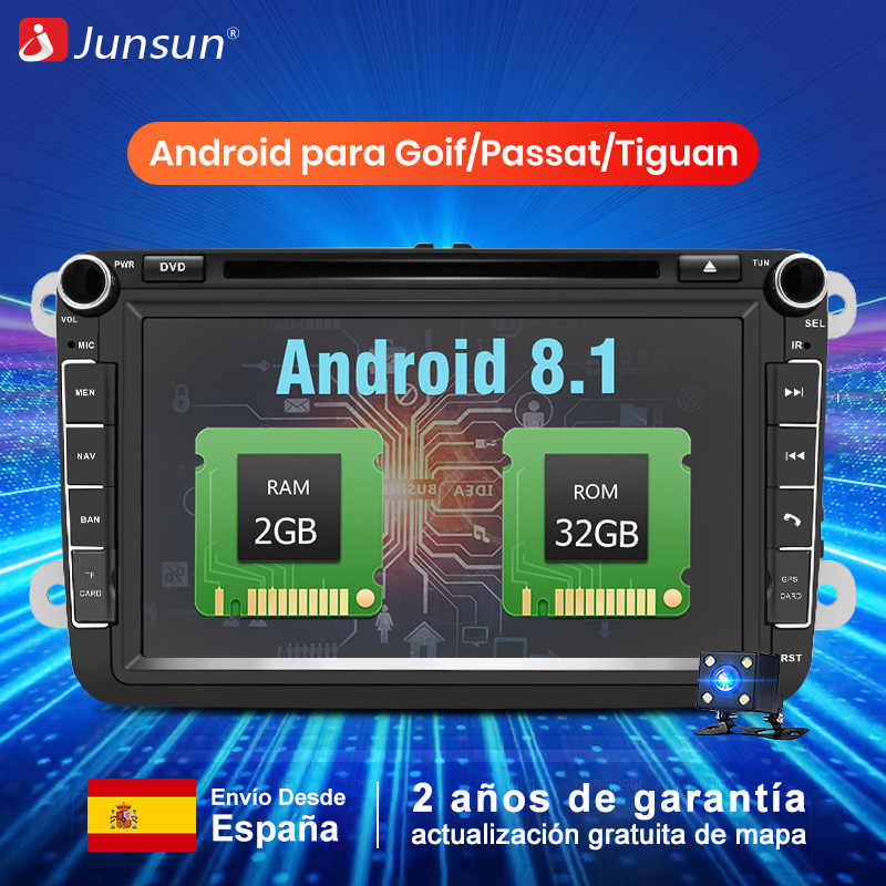 Junsun 2 Din Android 8,1 coche Multimedia reproductor de Radio para Skoda/Seat/Leon/Volkswagen/VW/Passat b7 /POLO/GOLF 5 6 DVD GPS 2G + 32 GB pantalla