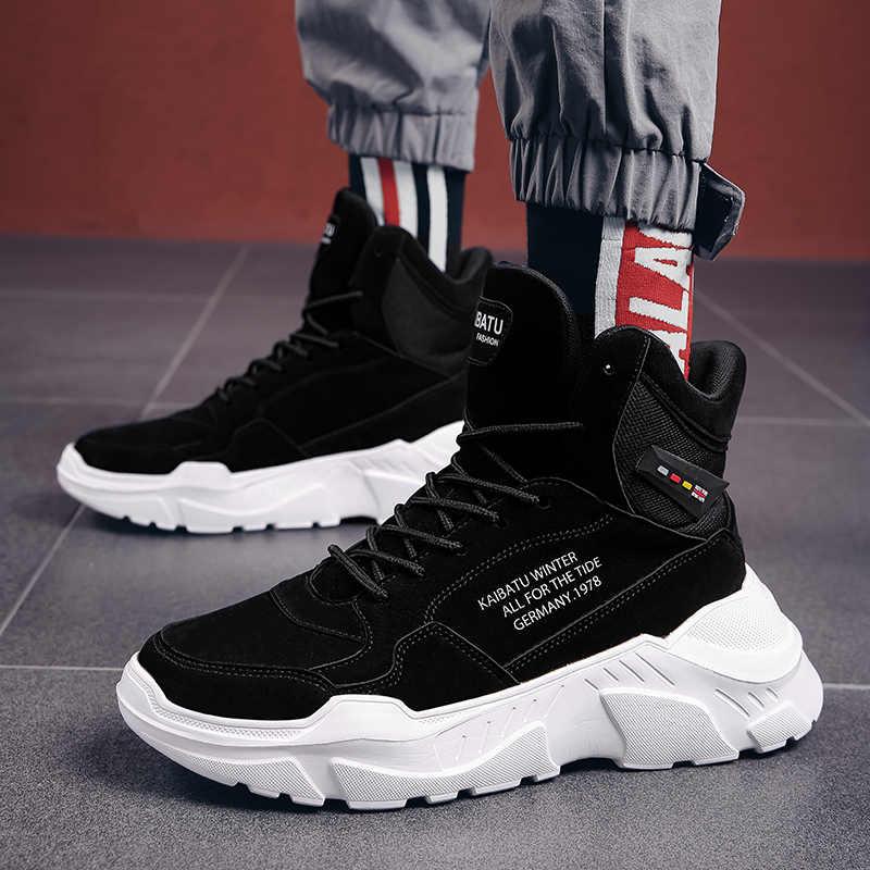 Da Lộn Da Thật Chính Hãng Da Thời Trang Mùa Đông Giày Nam Dành Cho Nam Mắt Cá Chân Của Đá Đế Dày Hip Hop Dạo Phố Nam Sneakers boot Nam