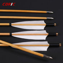 6/12/24pcs Natural Handmade Wooden Arrows 32inch with White Turkey Feather and Iron Arrowhead for 20 60lbs Bow Archery Shooting