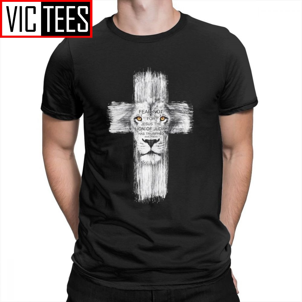 Men's Cool Lion Of Judah Jesus T Shirt Men Funny Cross Lion Tee Shirts Mans Casual Valentine's Tshirt Tops