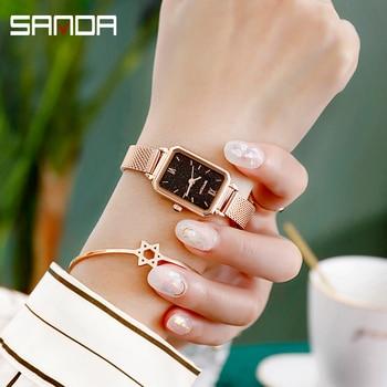 цена на 2020 SANDA High Quality Women Watches Luxury Brand  Ladies Wristwatch Clock for Women Rose Gold Quartz Watch relogio feminino