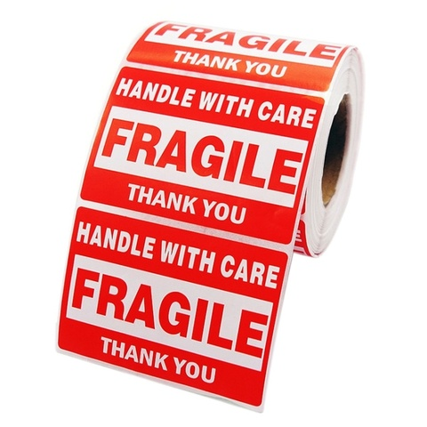 500 pces obrigado adesivos rolo 76x51mm vermelho fragil adesivos lidar com cuidado aviso envio etiquetas