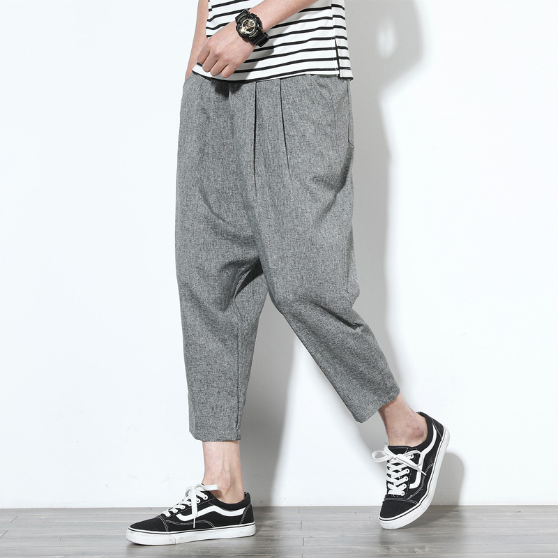 2019 Summer Thin Section Large Size Loose Cotton Linen Casual Pants Men's Plus-sized Harem Pants Japanese-style Wide-Leg Capri P